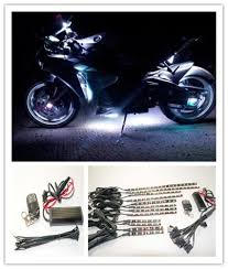 white led motorcycle light kit 12 pc universal motorcycle underglow 120 led white color neon accent