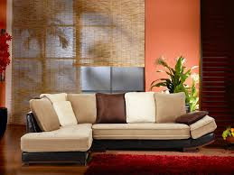 canapé d angle en velours canapé d angle velours cuir bycast beige et chocolat mekong