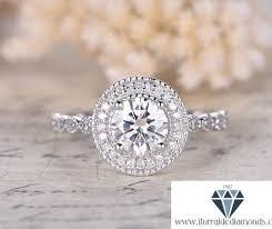 round cut moissanite engagement ring art deco diamond halo bubble