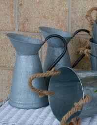Metal Jug Vase Metal Pitcher Jug Vase Flower Pot Farmhouse Vintage Rustic Zinc