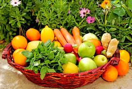 fruit and vegetable basket a basket of fresh fruit and vegetables stock image image of