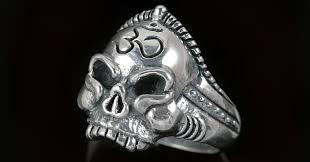 silver rings skull images Buddha monk om hinduism symbol skull silver ring mr 014 jpg