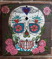 Sugar Skull Decor Wood Pallet Art Day of the Dead Wooden Signage