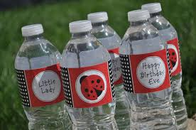 Decorate Water Bottle 12 Cupcake Toppers Ladybug Personalized Birthdays Or Baby