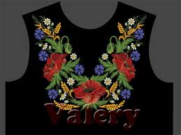 neckband with poppies machine embroidery design