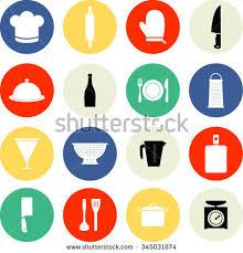 Kitchen Utensils Design by Set Kitchen Utensils Icon Flat Design Stock Vector 346719350