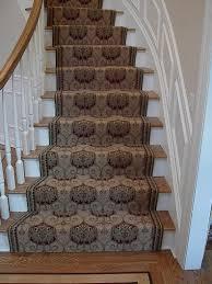 dark brown patterned stair runner width and light oak wood