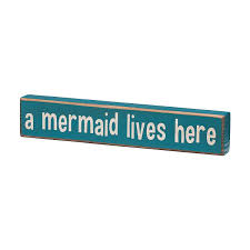 amazon com a mermaid lives here vintage coastal mini wood sign