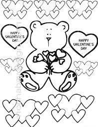 printable bears and hearts valentine u0027s day coloring page