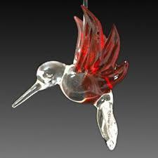 blown glass cobalt blue hummingbird ornament aftcra