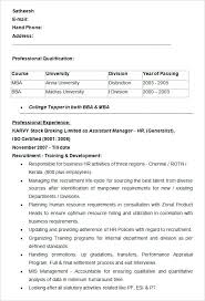 Mba Resume Format by Mba Resume Samples For Experienced Picturesque Sample
