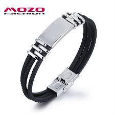 mens bracelet stainless steel rubber images Mozo fashion men 39 s bracelets stainless steel silicone bracelet jpg