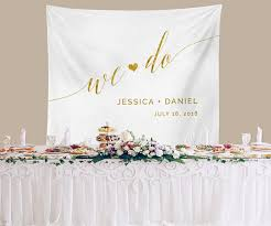 Wedding Backdrop Banner Rustic Wedding Backdrop Gold Ceremony Backdrop Custom