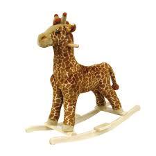 amazon com happy trails giraffe plush rocking animal toys