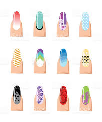 manicure design set colorful texture for nail salon set of stock