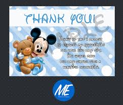 mickey mouse baby shower thank you card instant download