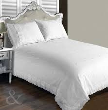 vintage lace luxury duvet cover white bedding cotton blend