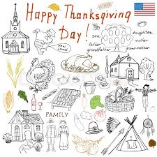 thanksgiving doodles set traditional symbols sketch collection