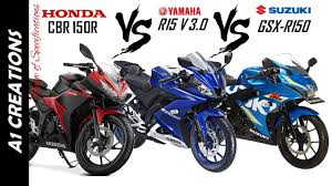 Honda Cbr 150r Vs Yamaha R15 V3 0 Vs Suzuki Gsx R150 Ll New Bikes