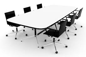 White Conference Table 3d Conference Table On White Royalty Free Stock Image Image