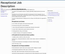 hotel receptionist job description receptionist job description