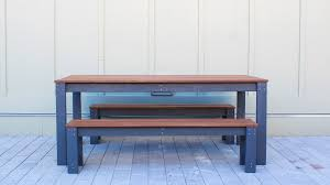 Wooden Bench And Table Homemade Modern Ep101 Diy Outdoor Dining Table