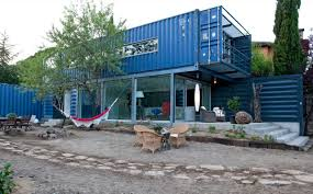 building house from shipping containers concept of recycling
