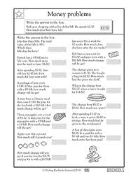 2nd grade 3rd grade math worksheets money word problems 3
