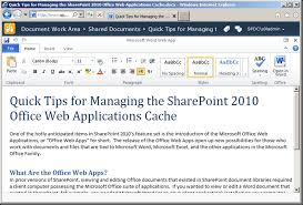 quick tips for managing the sharepoint 2010 office web