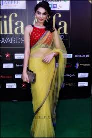 is wearing a transparent saree and sleeveless blouse in