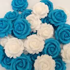 edible blue flowers 12 blue white roses edible sugar paste flowers cup cake