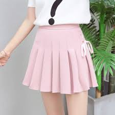pleated skirt summer new fashion solid denim pleated skirt harajuku lace up