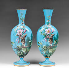 Ruby Vases Pair Of Harrach Bohemian Opaline Glass Enamel Vases With Gnomes