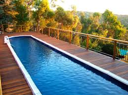 swimming pool minimalist contemporary rectangle long small