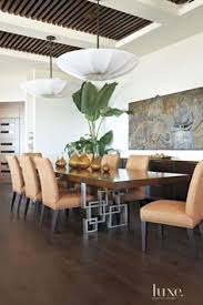 Dining Room Ceiling Lights Modern White Dining Room With Slatted Ceiling Luxesource Luxe