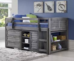 louver low loft bed with storage antique grey finish from donco