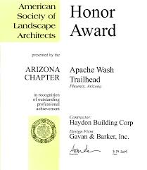 asla 2010 professional awards more apache wash trailhead receives arizona asla honor award haydon bc