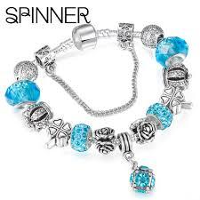 diy pandora charm bracelet images Beautiful european spinner style vintage silver plated crystal jpg
