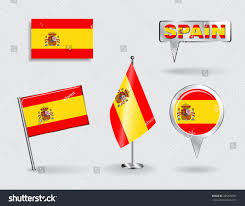 Pin Flags Set Spanish Pin Icon Map Pointer Stock Vector 285476921 Shutterstock