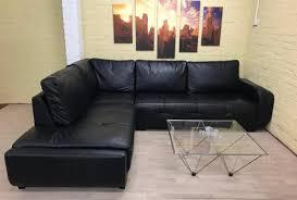 Black Leather Corner Sofa Contemporary Black Leather Corner Sofa Nudees