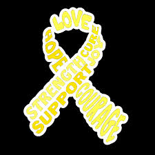 ribbon with words yellow awareness ribbon with words sticker the unchargeables