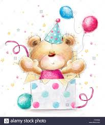 teddy balloons teddy with the gift happy birthday card background with