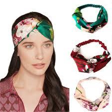 retro hair accessories korea new floral hair band retro bohemia cross silk print turban