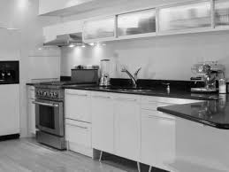 Backsplash In White Kitchen Wood Countertops Black And White Kitchen Cabinets Lighting
