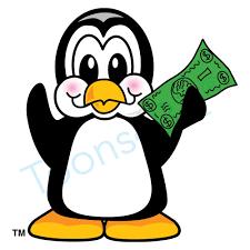 penguin holding money clip art