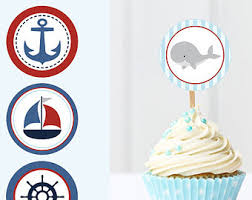 nautical cake toppers pug cupcake toppers printable puppy cake decorations pug cupcake