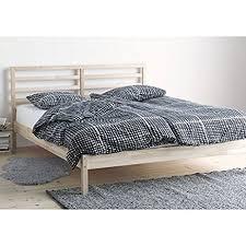 amazon com 4pc solid pine queen size bed complete modern full bed frames regarding drommen wood queen cb2 prepare 10