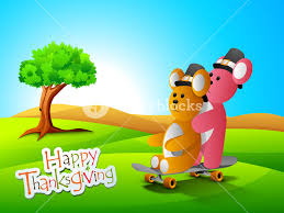 happy thanksgiving day concept with teddy bears on nature