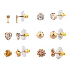 earring stud set pave heart floral flower earring stud set