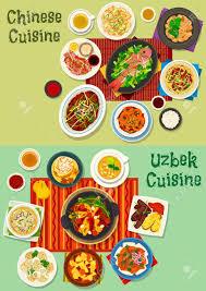 jeux de cuisine de poisson jeu d icônes de dîner cuisine chinoise et ouzbek boulettes de